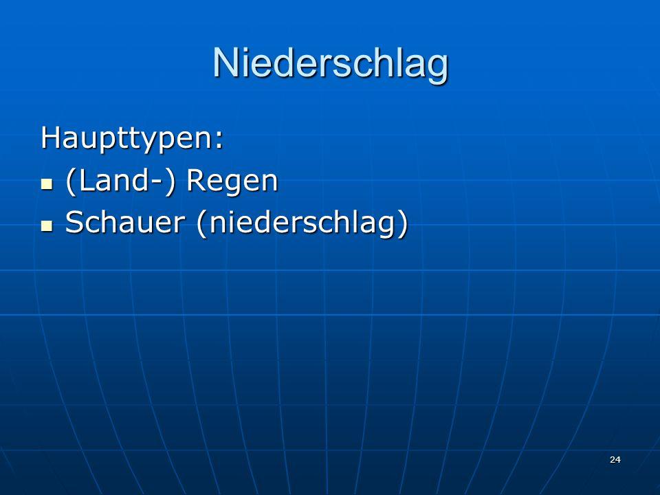 Niederschlag Haupttypen: (Land-) Regen Schauer (niederschlag)