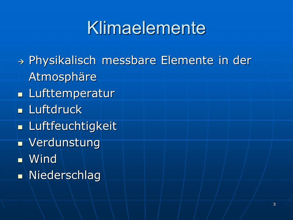 Klimaelemente Physikalisch messbare Elemente in der Atmosphäre