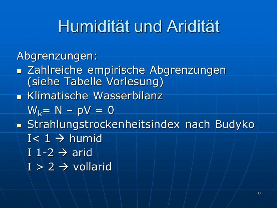 Humidität und Aridität
