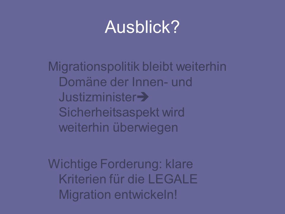 Ausblick Migrationspolitik bleibt weiterhin Domäne der Innen- und Justizminister Sicherheitsaspekt wird weiterhin überwiegen.