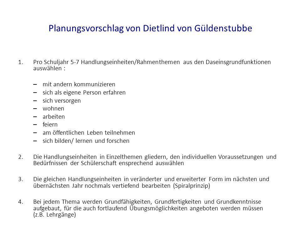 Planungsvorschlag von Dietlind von Güldenstubbe