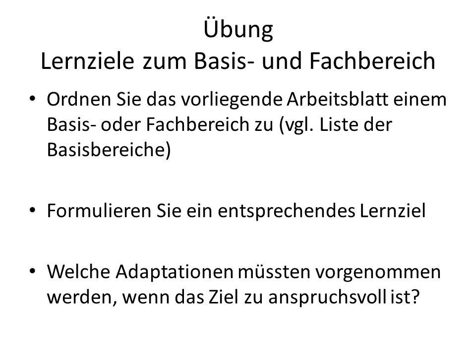 Übung Lernziele zum Basis- und Fachbereich