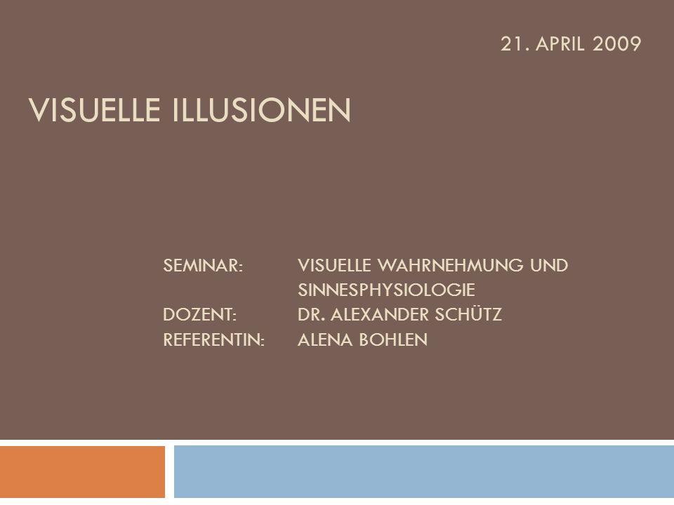 21. April 2009 Visuelle Illusionen. Seminar:. Visuelle Wahrnehmung und