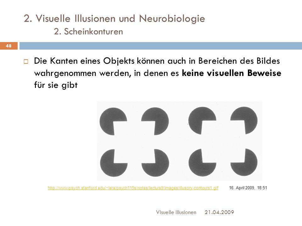 2. Visuelle Illusionen und Neurobiologie 2. Scheinkonturen