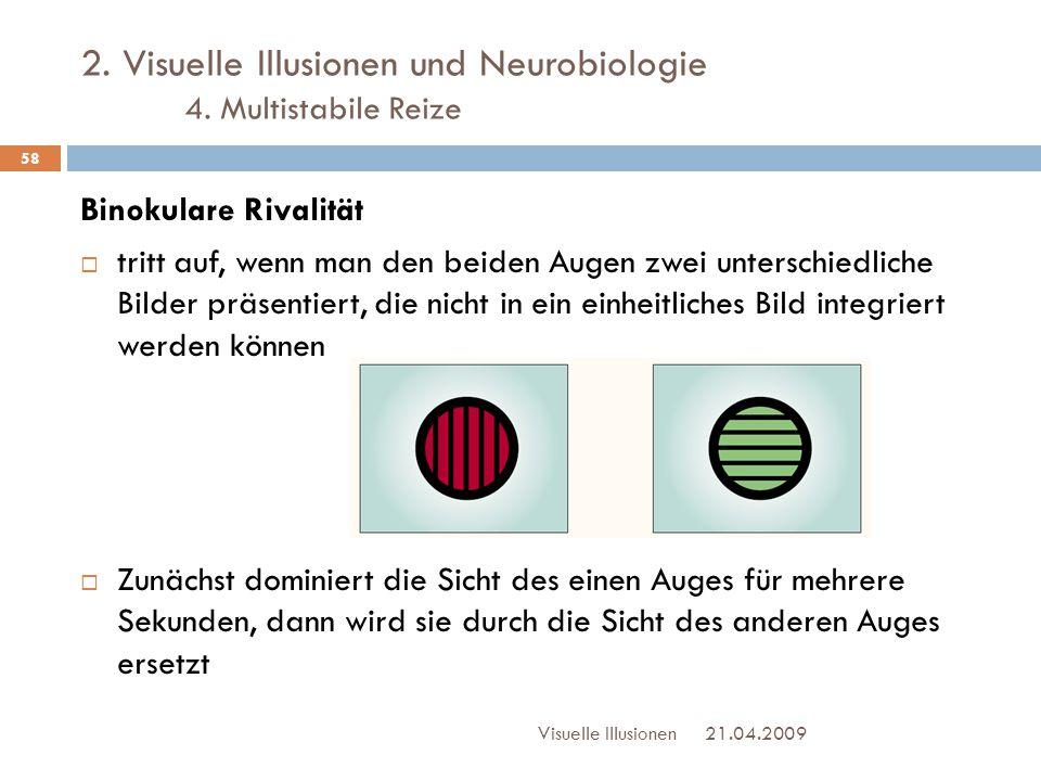 2. Visuelle Illusionen und Neurobiologie 4. Multistabile Reize