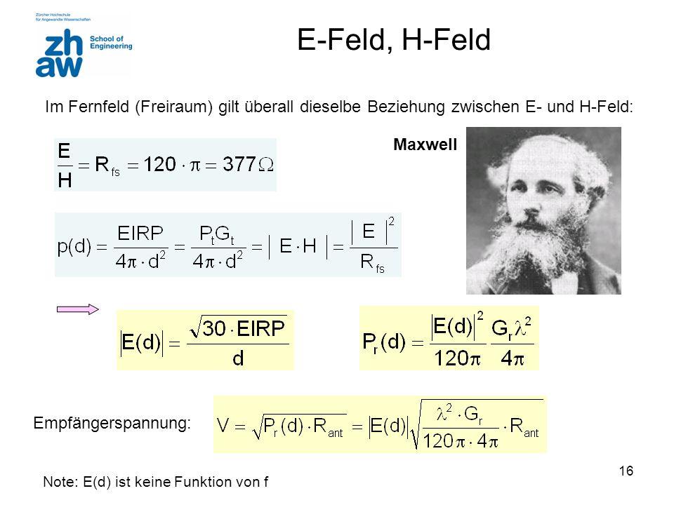 E-Feld, H-Feld Im Fernfeld (Freiraum) gilt überall dieselbe Beziehung zwischen E- und H-Feld: Maxwell.