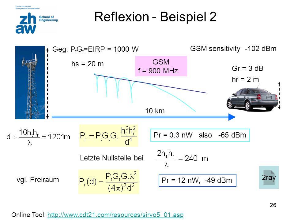 Reflexion - Beispiel 2 Geg: PtGt=EIRP = 1000 W