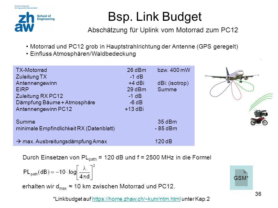 Durch Einsetzen von PLpath = 120 dB und f = 2500 MHz in die Formel