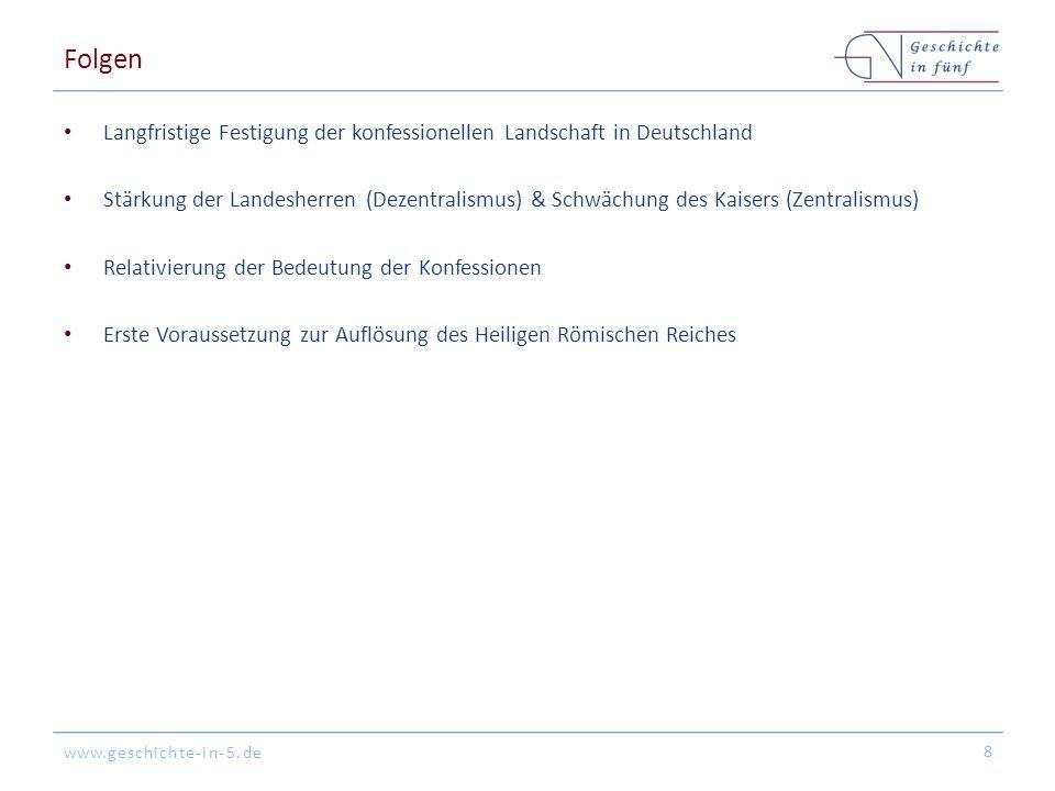 Folgen Langfristige Festigung der konfessionellen Landschaft in Deutschland.