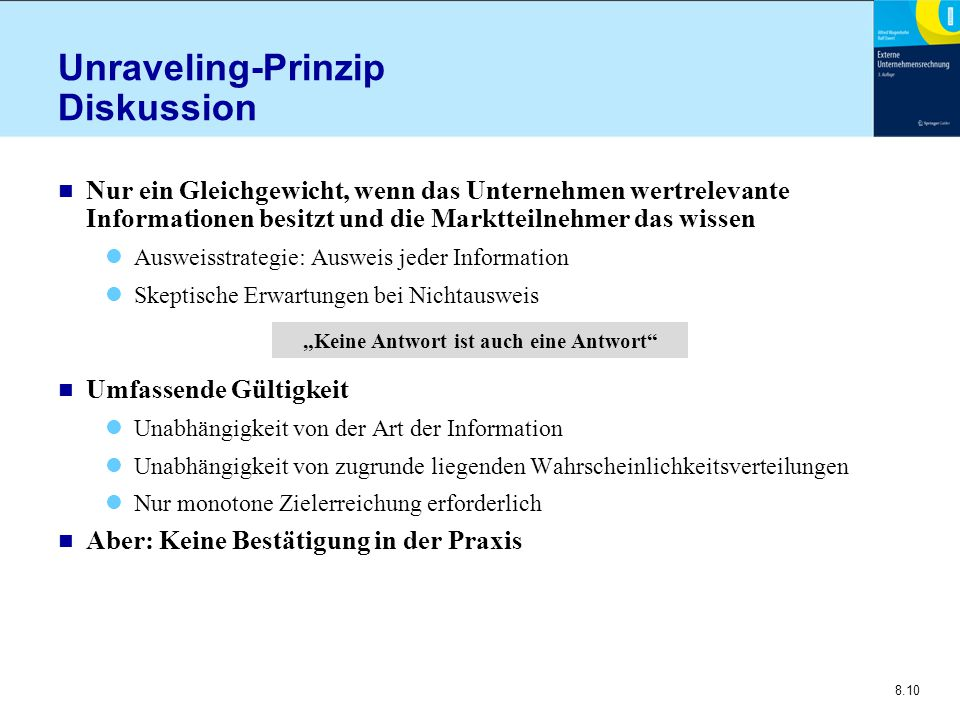 Unraveling-Prinzip Diskussion