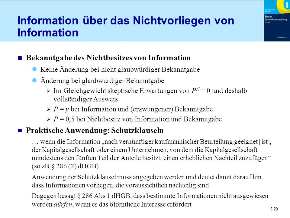 Information über das Nichtvorliegen von Information