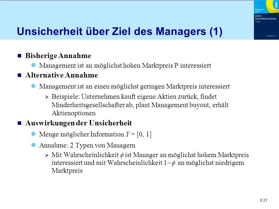 Unsicherheit über Ziel des Managers (1)