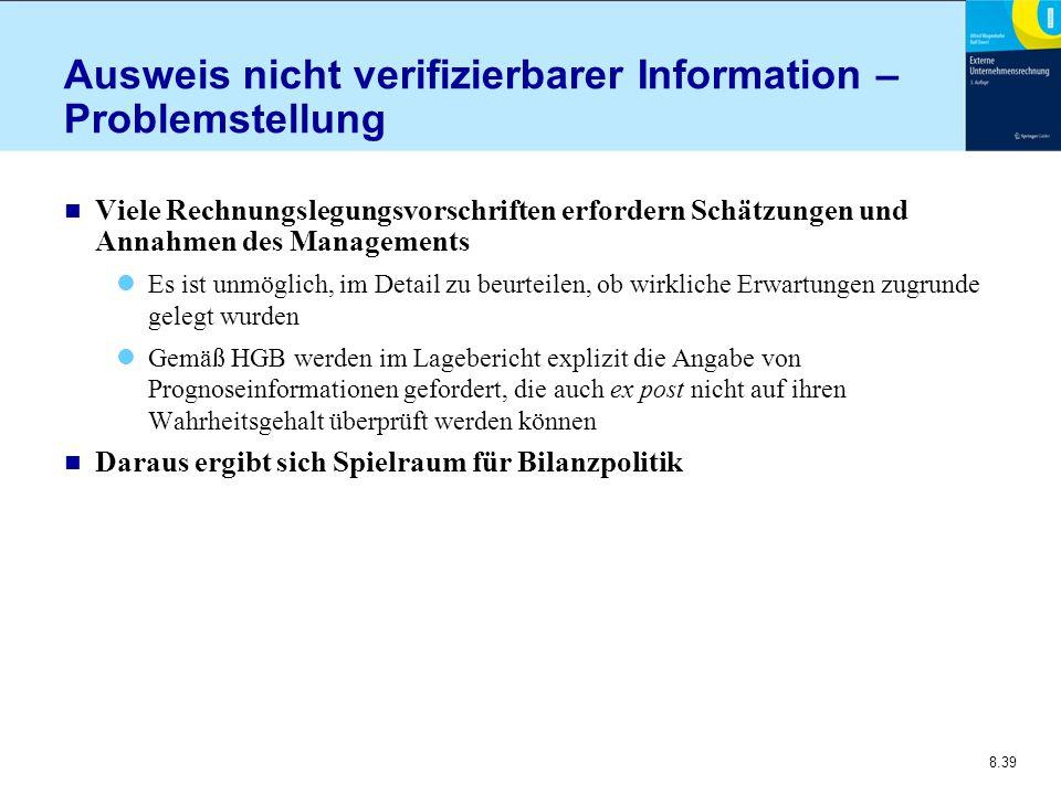 Ausweis nicht verifizierbarer Information – Problemstellung