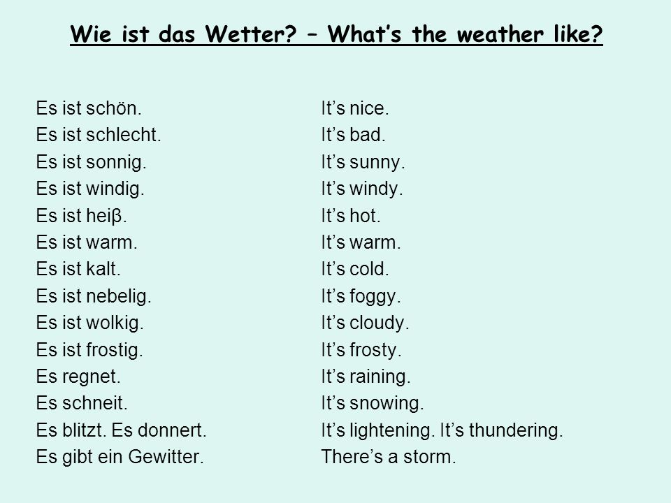 Wie ist das Wetter – What's the weather like
