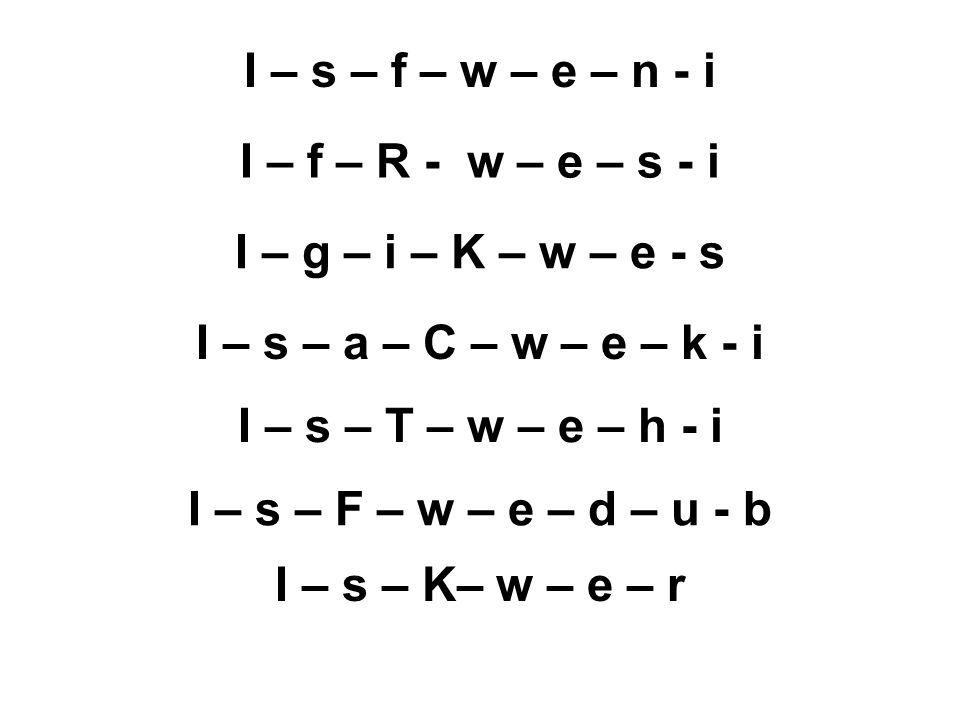I – s – f – w – e – n - i I – f – R - w – e – s - i. I – g – i – K – w – e - s. I – s – a – C – w – e – k - i.