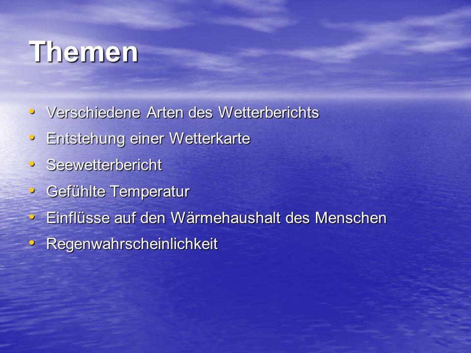 Themen Verschiedene Arten des Wetterberichts