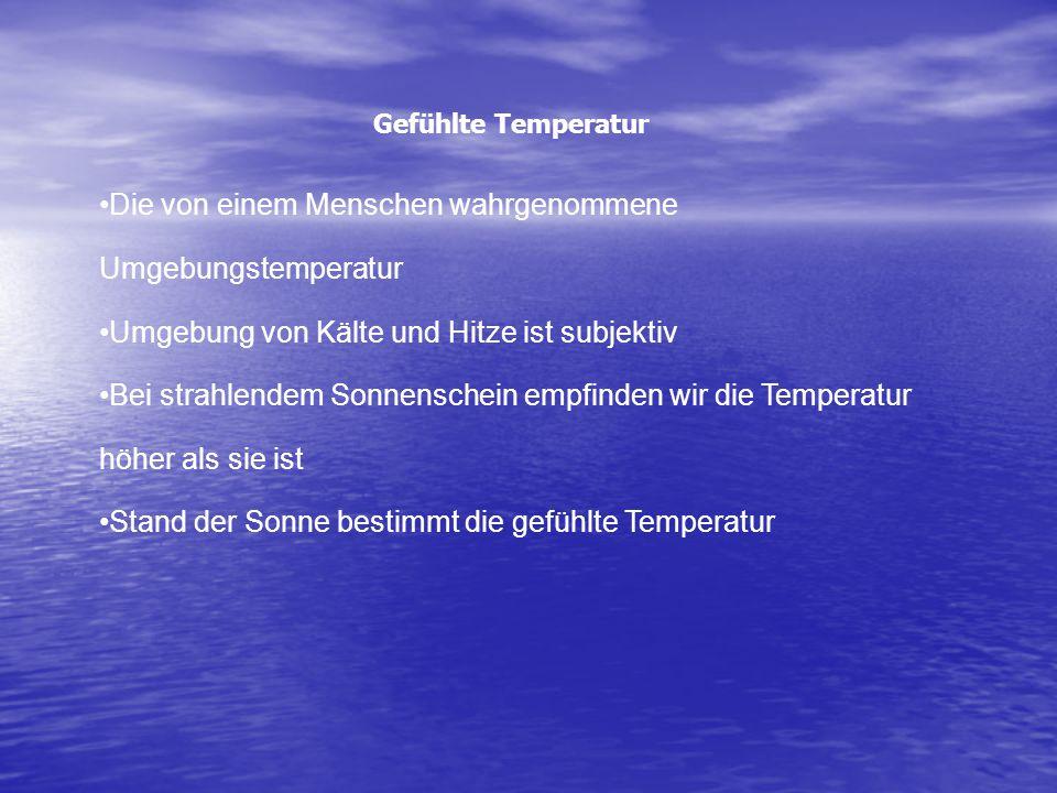 Die von einem Menschen wahrgenommene Umgebungstemperatur