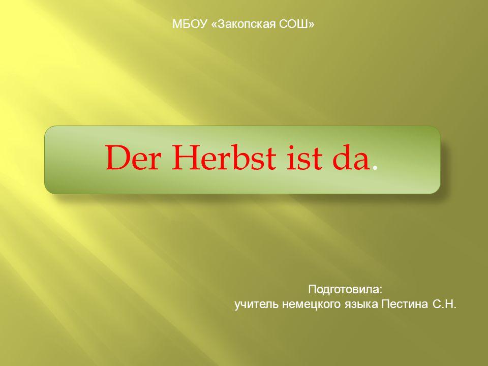 учитель немецкого языка Пестина С.Н.
