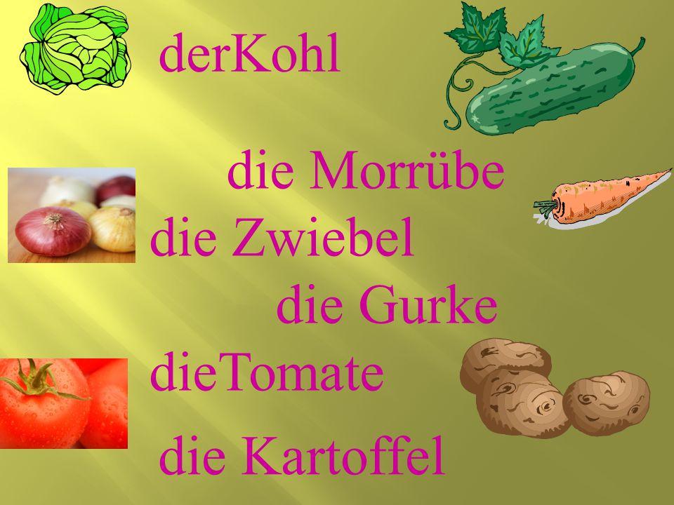 die Morrübe die Zwiebel die Gurke dieTomate derKohl die Kartoffel