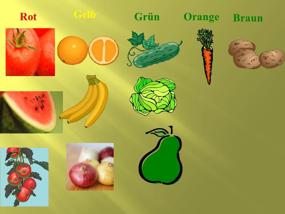 Gelb Rot Grün Orange Braun