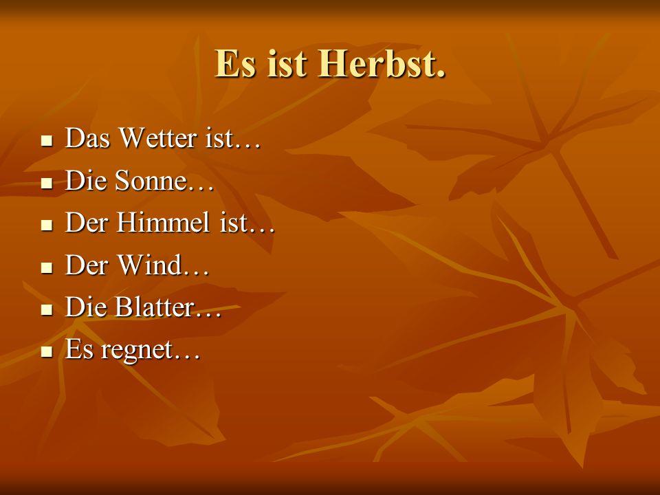 Es ist Herbst. Das Wetter ist… Die Sonne… Der Himmel ist… Der Wind…