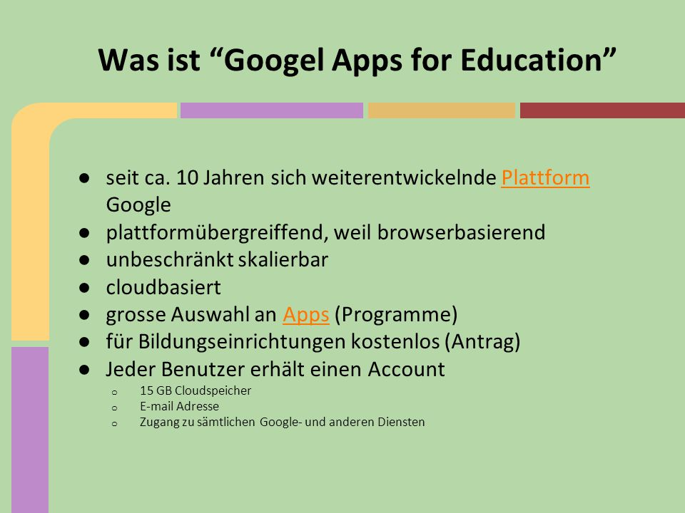 Was ist Googel Apps for Education