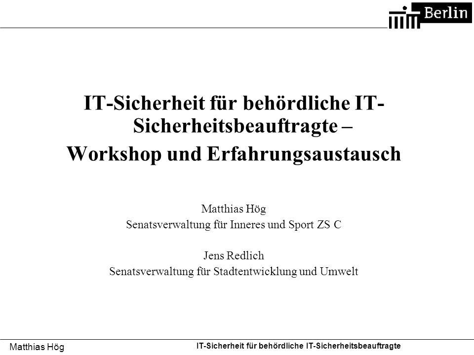 IT-Sicherheit für behördliche IT-Sicherheitsbeauftragte –