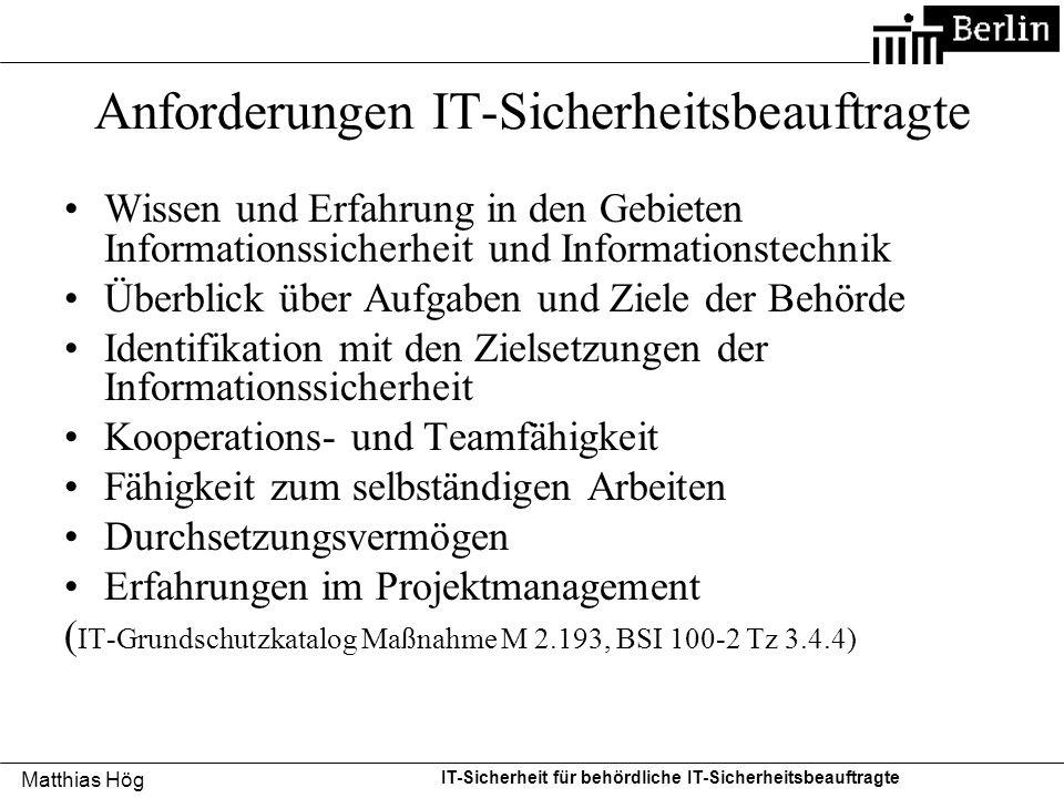 Anforderungen IT-Sicherheitsbeauftragte