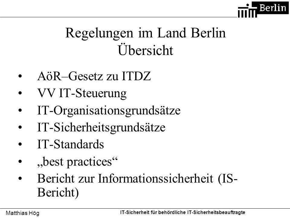 Regelungen im Land Berlin Übersicht