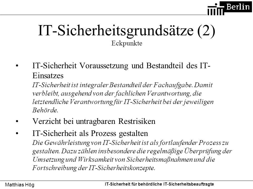 IT-Sicherheitsgrundsätze (2) Eckpunkte