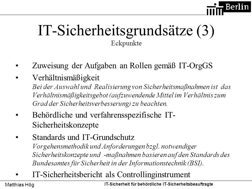 IT-Sicherheitsgrundsätze (3) Eckpunkte