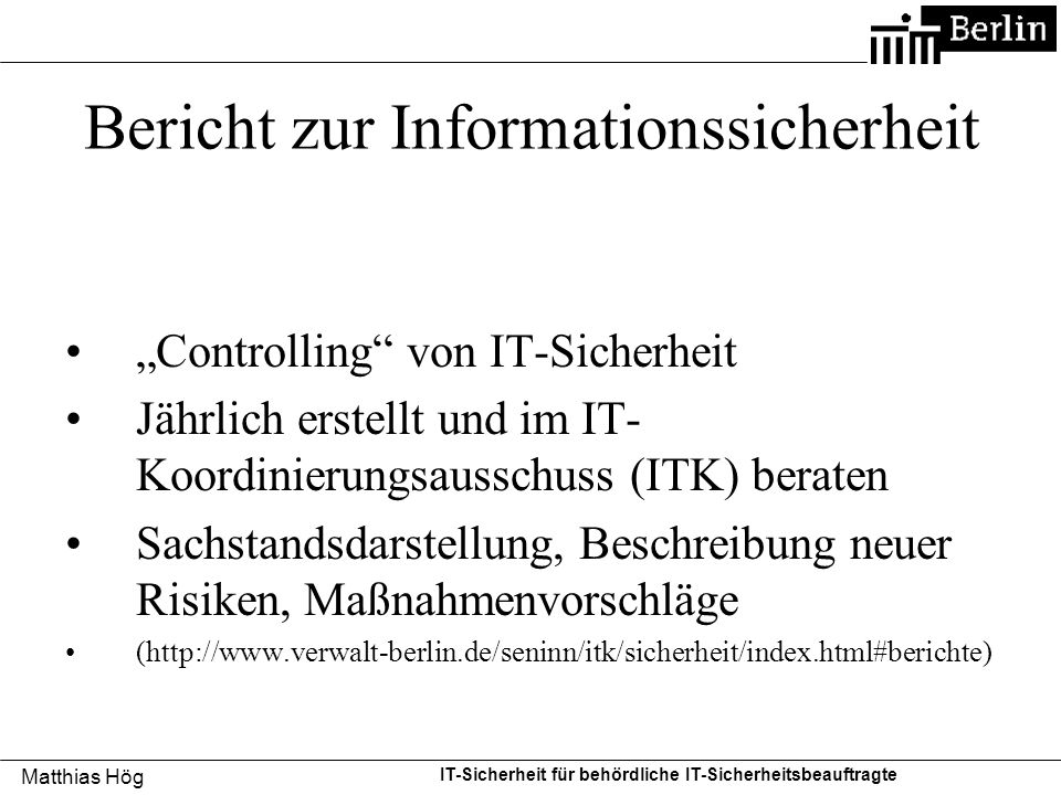 Bericht zur Informationssicherheit