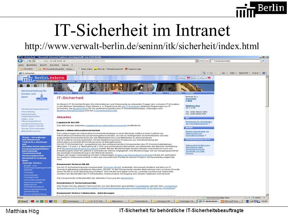 IT-Sicherheit im Intranet http://www. verwalt-berlin