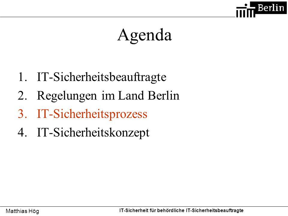 Agenda IT-Sicherheitsbeauftragte Regelungen im Land Berlin