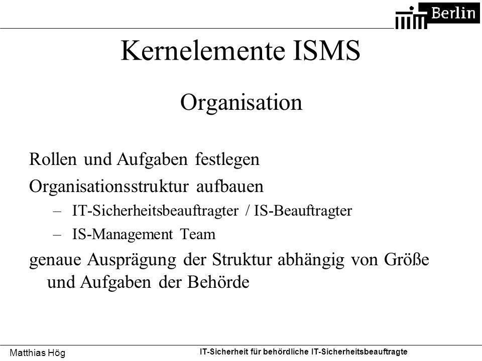 Kernelemente ISMS Organisation Rollen und Aufgaben festlegen