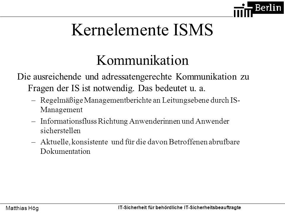 Kernelemente ISMS Kommunikation