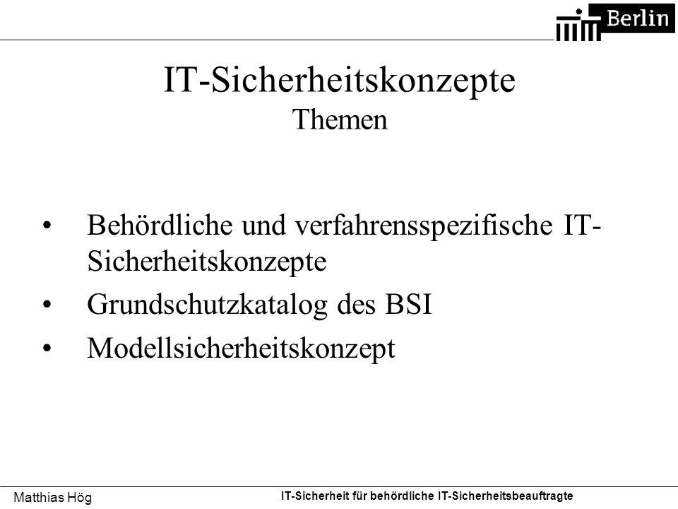 IT-Sicherheitskonzepte Themen