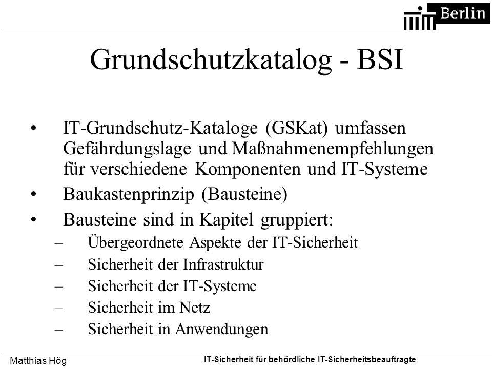 Grundschutzkatalog - BSI