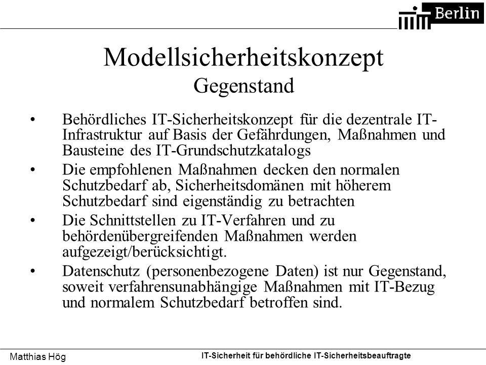 Modellsicherheitskonzept Gegenstand