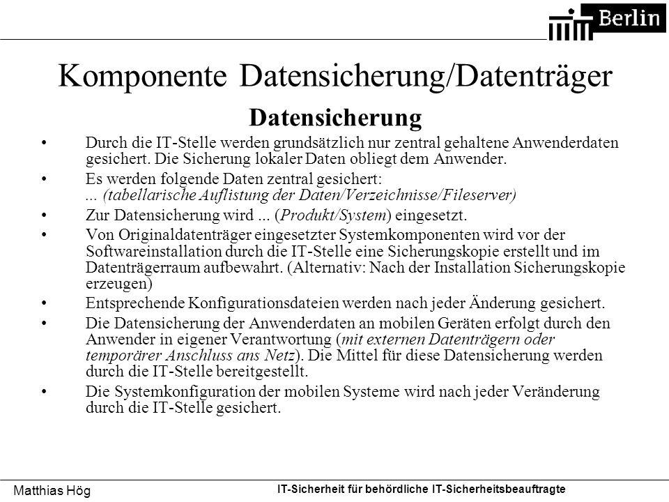 Komponente Datensicherung/Datenträger
