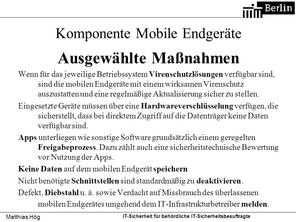 Komponente Mobile Endgeräte