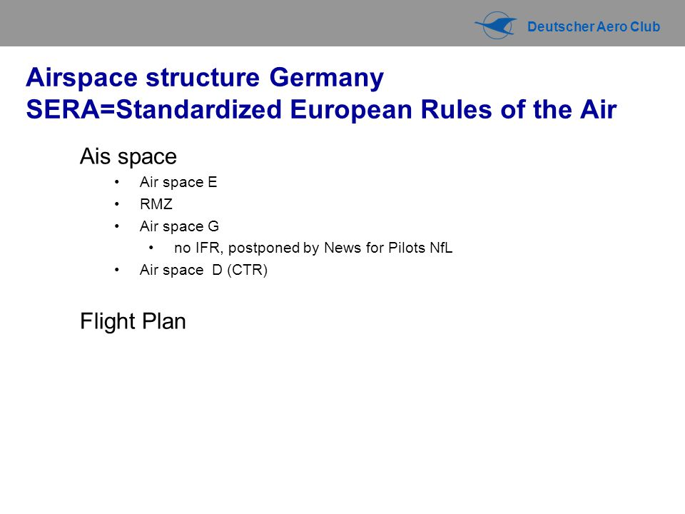 Airspace structure Germany SERA=Standardized European Rules of the Air