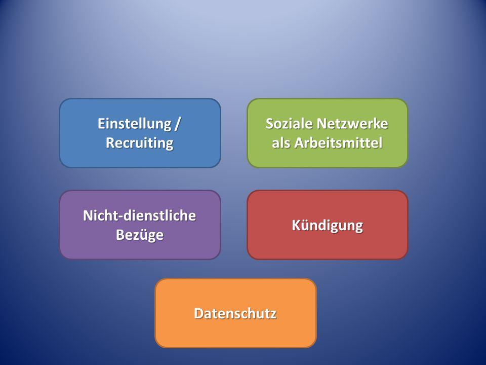 Einstellung / Recruiting Soziale Netzwerke als Arbeitsmittel