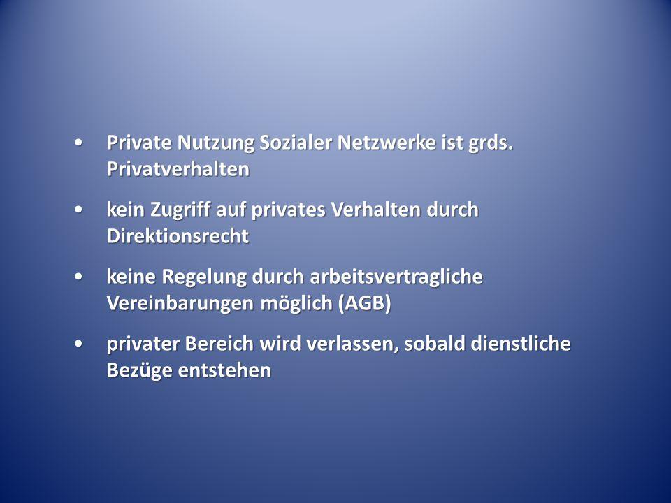 Private Nutzung Sozialer Netzwerke ist grds. Privatverhalten