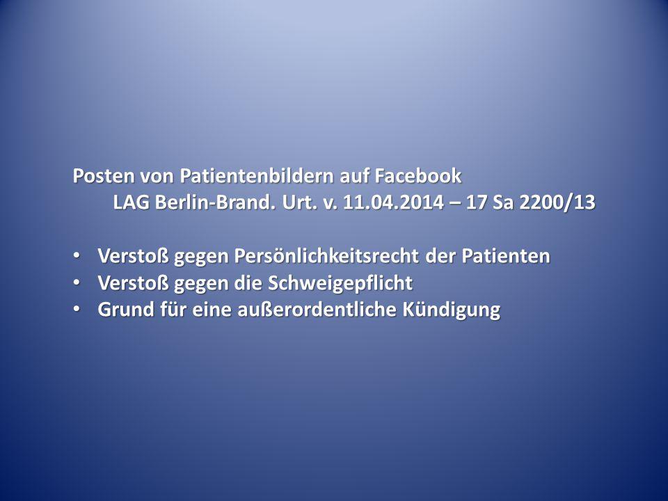Posten von Patientenbildern auf Facebook