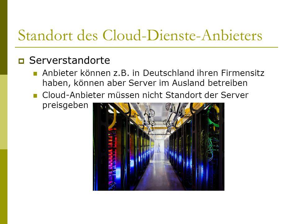 Standort des Cloud-Dienste-Anbieters