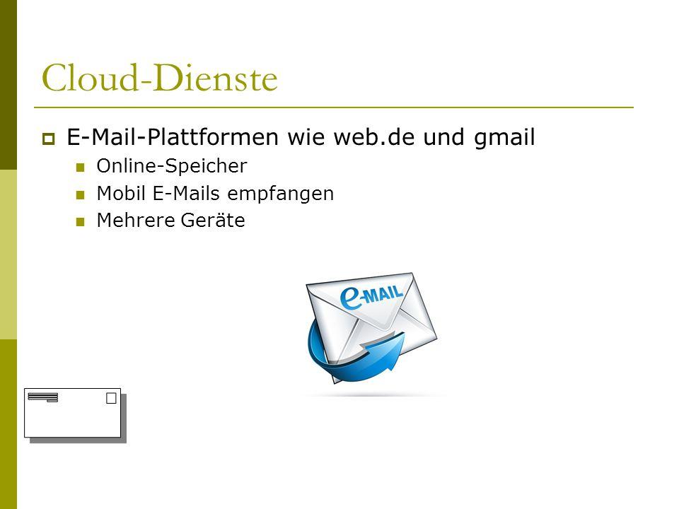 Cloud-Dienste E-Mail-Plattformen wie web.de und gmail Online-Speicher