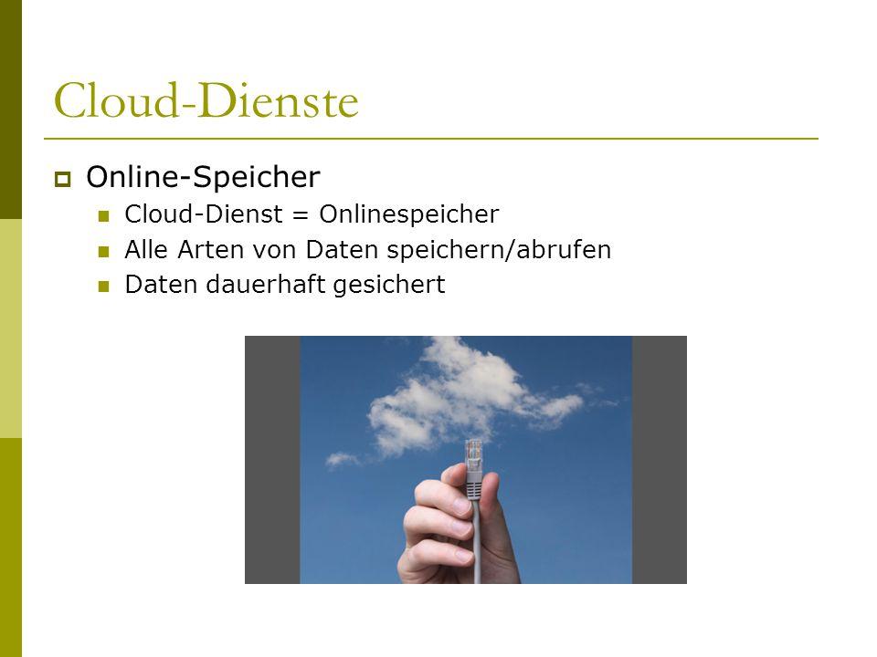 Cloud-Dienste Online-Speicher Cloud-Dienst = Onlinespeicher