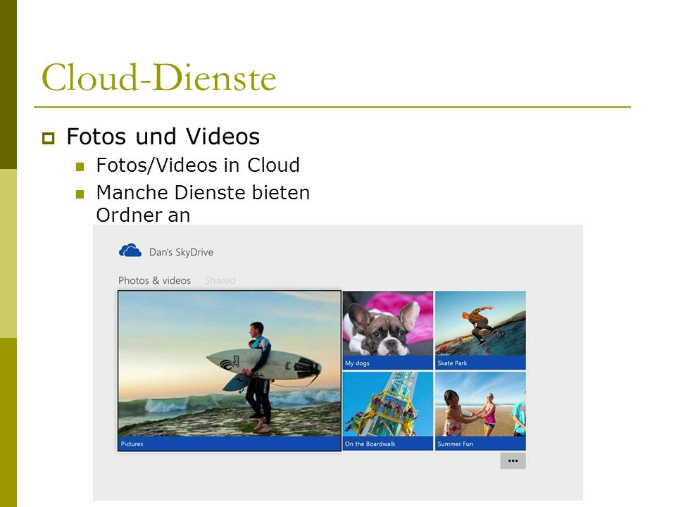 Cloud-Dienste Fotos und Videos Fotos/Videos in Cloud