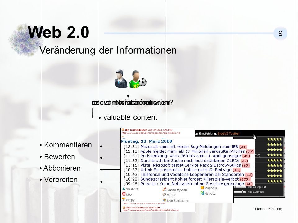 Web 2.0 Veränderung der Informationen 9 relevante Informationen
